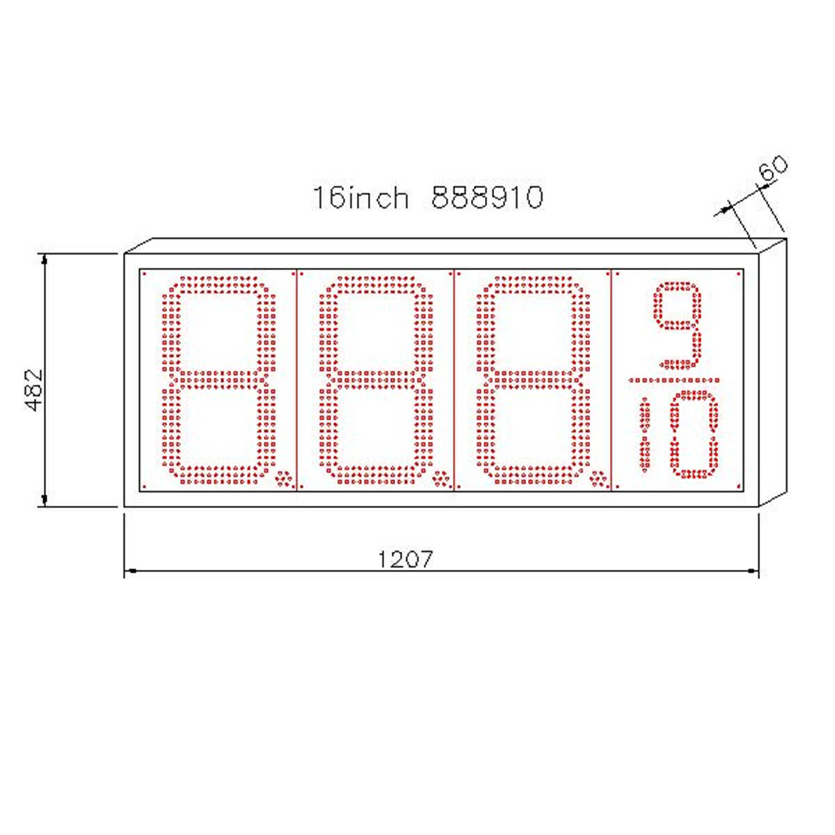 American Waterproof 16 Inch White Led Price Gas Signs:GAS16Z8889W